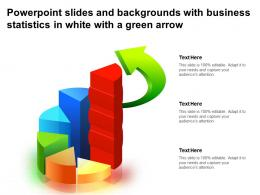 Powerpoint Slides And Backgrounds With Business Statistics In White With A Green Arrow