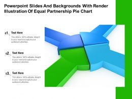 Powerpoint Slides And Backgrounds With Render Illustration Of Equal Partnership Pie Chart