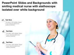 Powerpoint Slides And Backgrounds With Smiling Medical Nurse With Stethoscope Isolated Over White Background