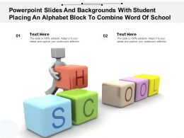 Powerpoint Slides With Student Placing An Alphabet Block To Combine Word Of School