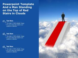 Powerpoint Template And A Man Standing On The Top Of Red Stairs In Clouds