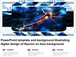 Powerpoint Template And Background Illustrating Digital Design Of Neuron On Blue Background