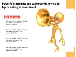 Powerpoint Template And Background Showing 3d Figure Making Announcement