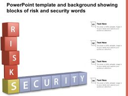 Powerpoint Template And Background Showing Blocks Of Risk And Security Words