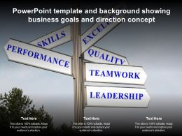 Powerpoint Template And Background Showing Business Goals And Direction Concept