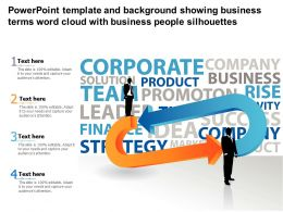 Powerpoint Template And Background Showing Business Terms Word Cloud With Business People Silhouettes