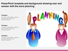 Powerpoint Template And Background Showing Man And Woman With The Word Planning
