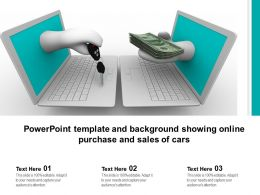 Powerpoint Template And Background Showing Online Purchase And Sales Of Cars