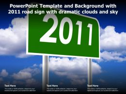 Powerpoint Template And Background With 2011 Road Sign With Dramatic Clouds And Sky