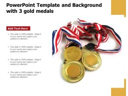 Powerpoint Template And Background With 3 Gold Medals
