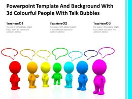 Powerpoint Template And Background With 3d Colourful People With Talk Bubbles