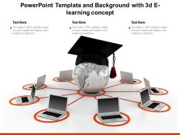 Powerpoint Template And Background With 3d E Learning Concept