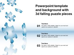 Powerpoint Template And Background With 3d Falling Puzzle Pieces
