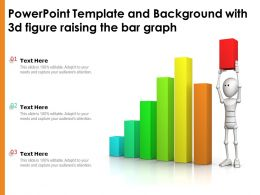 Powerpoint Template And Background With 3d Figure Raising The Bar Graph