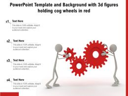 Powerpoint Template And Background With 3d Figures Holding Cog Wheels In Red