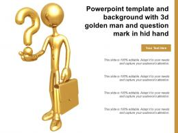 Powerpoint Template And Background With 3d Golden Man And Question Mark In Hid Hand
