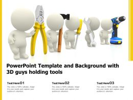 Powerpoint Template And Background With 3d Guys Holding Tools