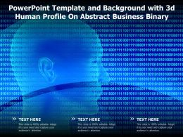 Powerpoint Template And Background With 3d Human Profile On Abstract Business Binary