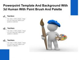 Powerpoint Template And Background With 3d Human With Paint Brush And Palette