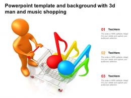 Powerpoint Template And Background With 3d Man And Music Shopping