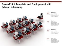 Powerpoint Template And Background With 3d Man E Learning