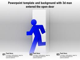 Powerpoint Template And Background With 3d Man Entered The Open Door