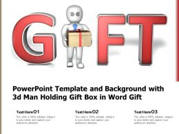 Powerpoint Template And Background With 3d Man Holding Gift Box In Word Gift