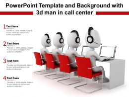 Powerpoint Template And Background With 3d Man In Call Center