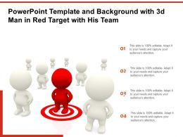 Powerpoint Template And Background With 3d Man In Red Target With His Team