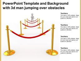 Powerpoint Template And Background With 3d Man Jumping Over Obstacles