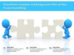 Powerpoint Template And Background With 3d Man Puzzle Assembling