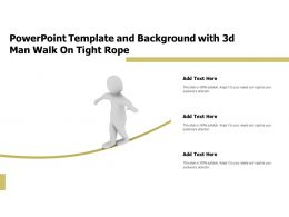 Powerpoint Template And Background With 3d Man Walk On Tight Rope