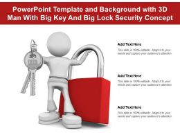 Powerpoint Template And Background With 3d Man With Big Key And Big Lock Security Concept