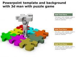 Powerpoint Template And Background With 3d Man With Puzzle Game