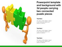 Powerpoint Template And Background With 3d People Carrying Two Connected Puzzle Pieces