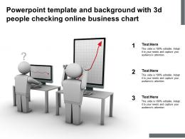 Powerpoint Template And Background With 3d People Checking Online Business Chart