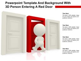 Powerpoint Template And Background With 3D Person Entering A Red Door