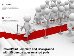 Powerpoint Template And Background With 3D Person Goes On A Red Path