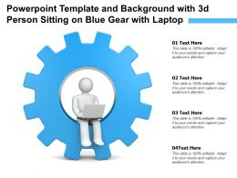 Powerpoint Template And Background With 3d Person Sitting On Blue Gear With Laptop