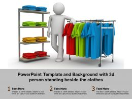Powerpoint Template And Background With 3d Person Standing Beside The Clothes