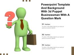 Powerpoint Template And Background With 3d Puppet Businessman With A Question Mark