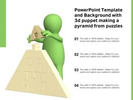 Powerpoint Template And Background With 3d Puppet Making A Pyramid From Puzzles