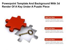 Powerpoint Template And Background With 3d Render Of A Key Under A Puzzle Piece