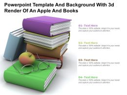 Powerpoint Template And Background With 3d Render Of An Apple And Books