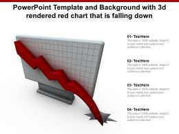 Powerpoint Template And Background With 3d Rendered Red Chart That Is Falling Down