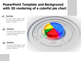 Powerpoint Template And Background With 3d Rendering Of A Colorful Pie Chart