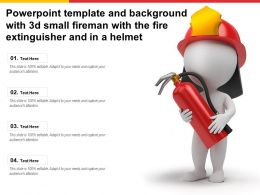 Powerpoint Template And Background With 3d Small Fireman With The Fire Extinguisher And In A Helmet