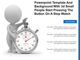 Powerpoint Template And Background With 3d Small People Start Pressing The Button On A Stop Watch