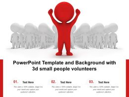 Powerpoint Template And Background With 3d Small People Volunteers