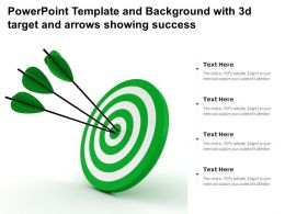 Powerpoint Template And Background With 3d Target And Arrows Showing Success